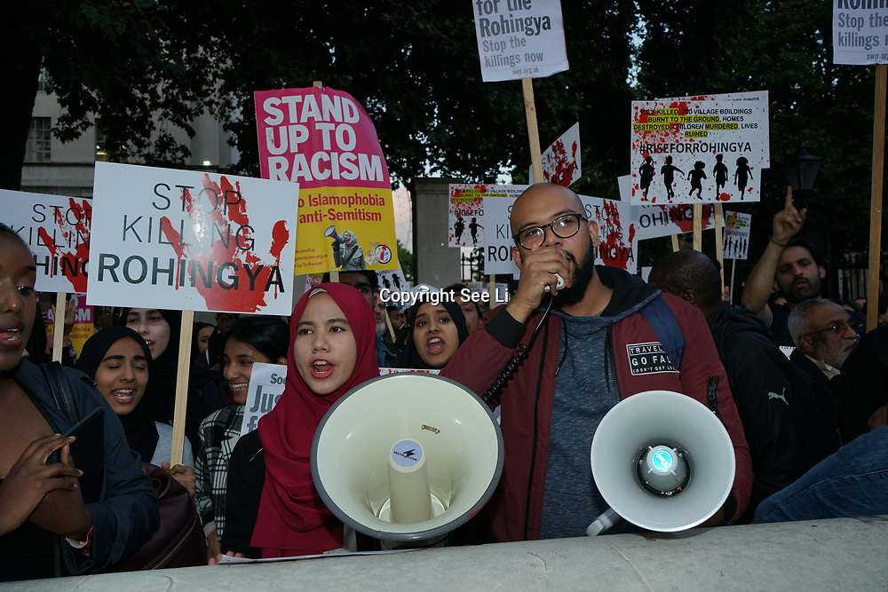 London, England, UK. 6th September 2017. Muslim community and supporters held a protest to Stop the genocide of Rohingya and against UK Stop supporting Myanmar brutal silent genocide of Rohingya people in Myanmar and Aung San Suu Kyi should be charged with War Crime outside Downing street. Muslim is not a crime, Human civilization stop prosecute and destroyed Muslim lives.