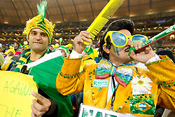 Brazil fans  prior to the 2010 FIFA World Cup South Africa Group G Second Round match between Brazil and République de Côte d'Ivoire on June 20, 2010 at Soccer City Stadium in Soweto, suburban Johannesburg, South Africa. (Photo by Vid Ponikvar / Sportida)