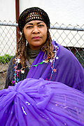 Costumed parade participant woman age 45. MayDay Parade and Festival. Minneapolis Minnesota USA