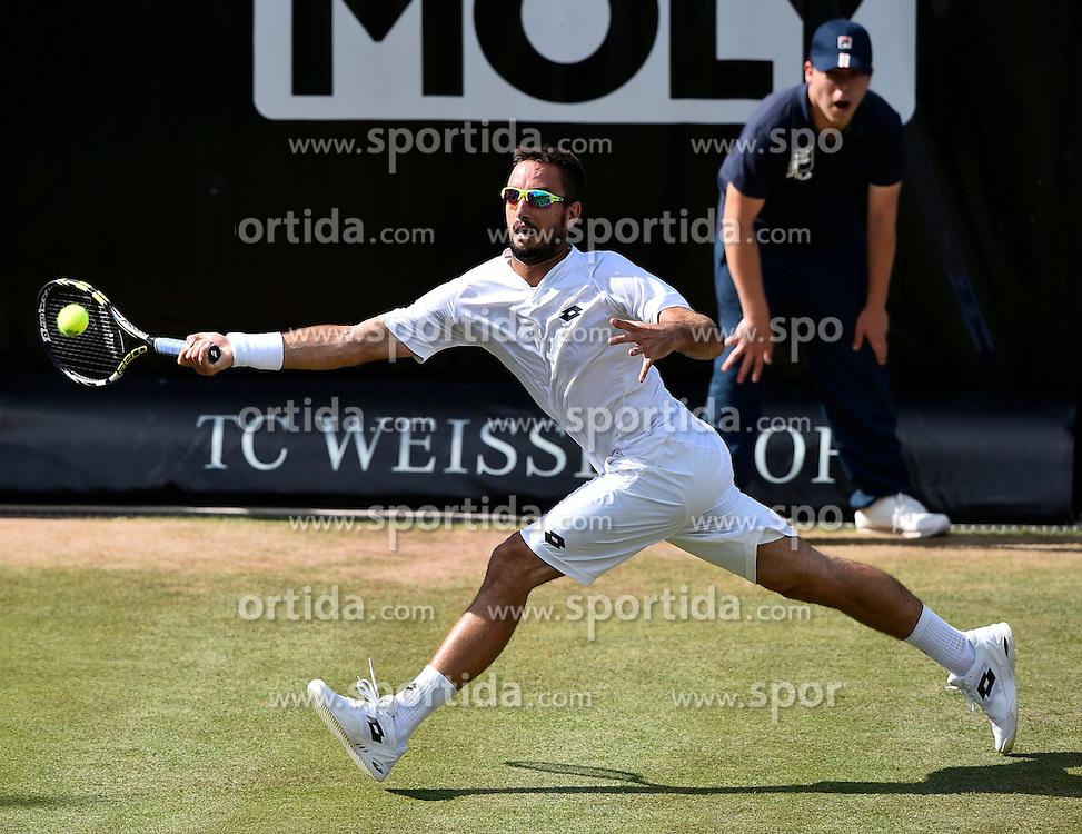 13.06.2015, Tennis Club Weissenhof, Stuttgart, GER, ATP Tour, Mercedes Cup Stuttgart, Halbfinale, im Bild Viktor Troicki (SRB) Aktion // during the half finals of Mercedes Cup of ATP world Tour at the Tennis Club Weissenhof in Stuttgart, Germany on 2015/06/13. EXPA Pictures &copy; 2015, PhotoCredit: EXPA/ Eibner-Pressefoto/ Weber<br /> <br /> *****ATTENTION - OUT of GER*****