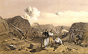 Crimean (Russo-Turkish) War 1853-1856. French troops inside the Mamelon Vert, a small hill transformed into a redoubt by the Russian military engineers, after the fall of Sebastopol (Sevastopol). Sebastopol was under siege from October 1854 to 11 September 1855 when it fell to the Allied forces and the Russians retreated.  Tinted lithograph after W Simpson for 'Illustration of the War in the East' (London, 1855-1856).