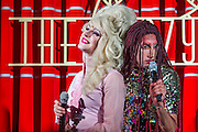 Denim perform on the opening weekend of revamped live entertainment venue - The Crazy Coqs, Live at Zedel - Denim,Glamrou La Denim, Crystal Vaginova, Electra Cute, Shirley Du Naughty & Aphrodite Jones, are a Cambridge founded musical comedy drag troope who last summer performed with Florence and The Machine at Glastonbury. Guy Bell, 07771786236 guy@gbphotos.com.