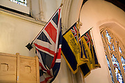 Union Jack and Royal British legion flags,  St Mary-le-Tower church, Ipswich