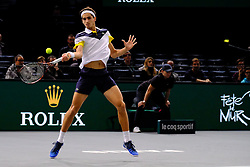 October 31, 2017 - Paris, France - The French player wild card PIERRE HUGES HERBERT returns the ball to Spanish player FELICIANO LOPEZ during the tournament Rolex Paris Master at Paris AccorHotel Arena Stadium in Paris France.Feliciano Lopez  won 7-6 6-3 (Credit Image: © Pierre Stevenin via ZUMA Wire)