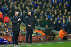 28.01.2014, Anfield, Liverpool, ENG, Premier League, FC Liverpool vs FC Everton, 23. Runde, im Bild Liverpool's manager Brendan Rodgers and Everton's manager Roberto Martinez // during the English Premier League 23th round match between Liverpool FC and Everton FC at Anfield in Liverpool, Great Britain on 2014/01/29. EXPA Pictures © 2014, PhotoCredit: EXPA/ Propagandaphoto/ David Rawcliffe<br /> <br /> *****ATTENTION - OUT of ENG, GBR*****