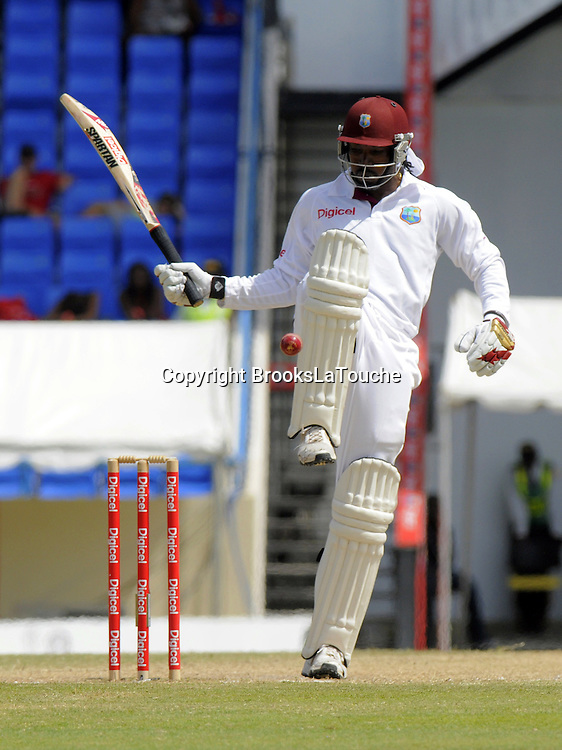 Chris Gayle (WI) - Day 5 of the first test West Indies v New Zealand at Sir Vivian Richards Stadium, Antigua, West Indies.<br /> 29 July 2012. Photo;Randy Brooks/Photosport.co.nz