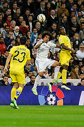 01.03.2015, Estadio Santiago Bernabeu, Madrid, ESP, Primera Division, Real Madrid vs FC Villarreal, 25. Runde, im Bild Real Madrid&acute;s Marcelo Vieira and Villarreal CF&acute;s Joel Campbell // during the Spanish Primera Division 25th round match between Real Madrid CF and Villarreal at the Estadio Santiago Bernabeu in Madrid, Spain on 2015/03/01. EXPA Pictures &copy; 2015, PhotoCredit: EXPA/ Alterphotos/ Luis Fernandez<br /> <br /> *****ATTENTION - OUT of ESP, SUI*****
