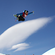 Jennifer Hudak, USA, in action in the Women's Halfpipe Finals during The North Face Freeski Open at Snow Park, Wanaka, New Zealand, 3rd September 2011. Photo Tim Clayton...