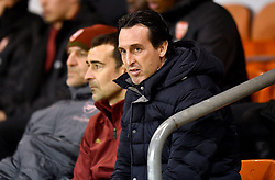 Arsenal manager Unai Emery in the stands during the Emirates FA Cup, third round match at Bloomfield Road, Blackpool.