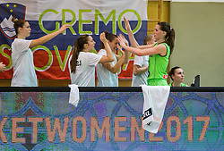 Eva Lisec of Slovenia celebrate  during basketball match between Women National Teams of Slovenia and Lithuania in Qualifications of EuroBasket Women 2017, on November 19, 2016 in Gimnazija Celje, Slovenia. Photo by Vid Ponikvar / Sportida