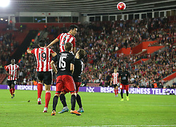 Maya Yoshida of Southampton has a shot on goal - Mandatory byline: Paul Terry/JMP - 07966386802 - 20/08/2015 - FOOTBALL - ST Marys Stadium -Southampton,England - Southampton v FC Midtjylland - EUROPA League Play-Off Round