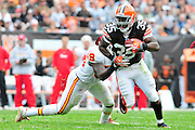 Sept. 19, 2010; Cleveland, OH, USA; Cleveland Browns running back Jerome Harrison (35) during the second quarter against the Kansas City Chiefs at Cleveland Browns Stadium. Mandatory Credit: Jason Miller-US PRESSWIRE