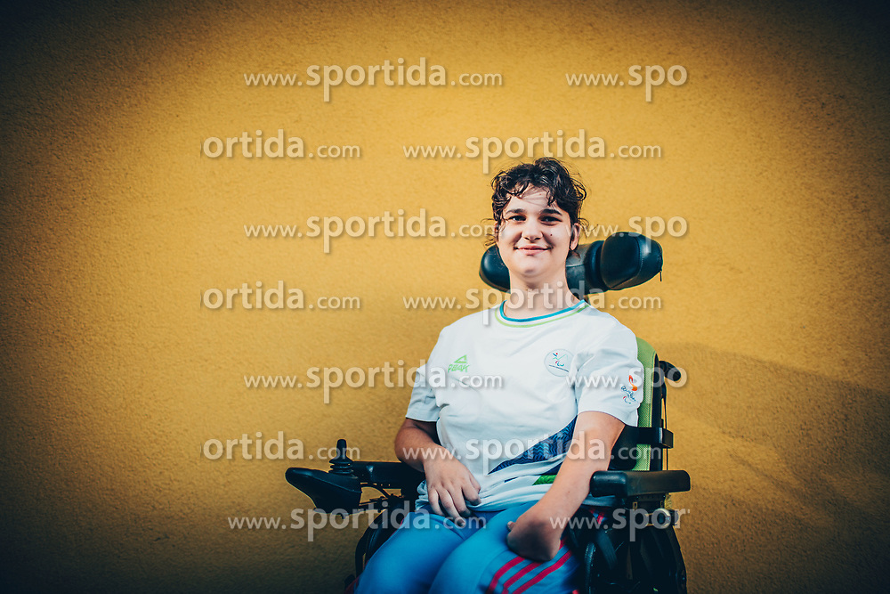 Portrait of disabled boccia athlete Ajsa Perme, on August 8, 2017, in Spodnji Jakobski dol, Slovenia. Photo by Vid Ponikvar / Sportida