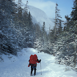 Hiking the Tuckerman Ravine Trail on Mount Washington in New Hampshire's White Mountain National Forest. Winter. White Mountains, NH