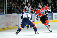 KELOWNA, CANADA, OCTOBER 29: Colton Heffley #25 of the Kelowna Rockets makes a pass against the boards as the Kamloops Blazers visit the Kelowna Rockets  on October 29, 2011 at Prospera Place in Kelowna, British Columbia, Canada (Photo by Marissa Baecker/Shoot the Breeze) *** Local Caption *** Colton Heffley;