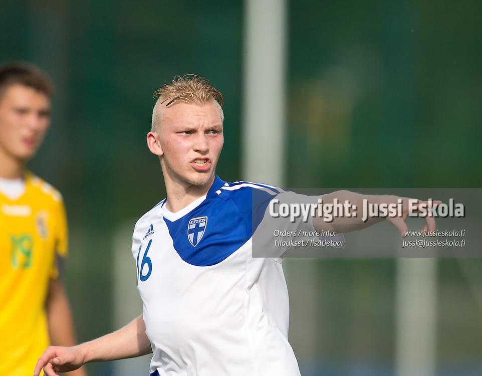 Joonas Jokinen. Suomi - Liettua. U19. Alle 19-vuotiaiden maajoukkue. S. 1995-. Baltic Cup, Eerikkilä, 25.6.2013. Photo: Jussi Eskola
