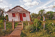 Hurricane warped house near La Palma, Pinar del Rio, Cuba.