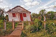 Hurricane warped house near La Palma, Pinar del Rio, Cuba.