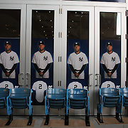 Derek Jeter signage with seats from the former Yankee Stadium outside the Yankee shop during the New York Yankees opening day of the Major League Baseball 2013 season during the New York Yankees V Boston Red Sox American League East baseball game at Yankee Stadium, The Bronx, New York. USA, 1st April 2013. Photo Tim Clayton