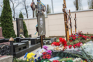 KHARKIV, UKRAINE - APRIL 22: The grave of Vladislav Zubenko, who died after being shot during the Euromaidan protests in Kiev in February, on what would have been his 23rd birthday on April 22, 2014 in Kharkiv, Ukraine. Pro-Russian activists have been occupying government buildings and demanding greater autonomy in many Eastern Ukrainian cities in recent weeks. (Photo by Brendan Hoffman/Getty Images) *** Local Caption ***