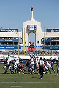 The Los Angeles Rams defense leaps while trying to block a kick during the 2018 NFL preseason week 3 football game against the Houston Texans on Saturday, Aug. 25, 2018 in Los Angeles. The Rams won the game 21-20. (©Paul Anthony Spinelli)