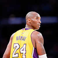 19 October 2014: Los Angeles Lakers guard Kobe Bryant (24) is seen during the Los Angeles Lakers 98-91 victory over the Utah Jazz, in a preseason game, at the Staples Center, Los Angeles, California, USA.