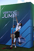 Jan 23, 2019; Kissimmee, FL, USA;  A young fan leaps high at the Vertical Jump at the Pro Bowl Experience at the 2019 Pro Bowl at ESPN Wide World of Sports Complex. (Kim Hukari/Image of Sport)