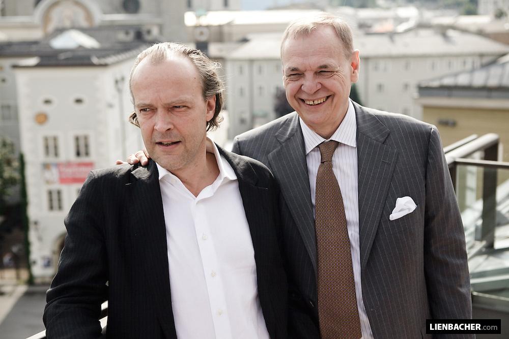 Salzburg: Sven-Eric Bechtolf and Alexander Pereira are posing for the Photographers. Photo: Wolfgang Lienbacher