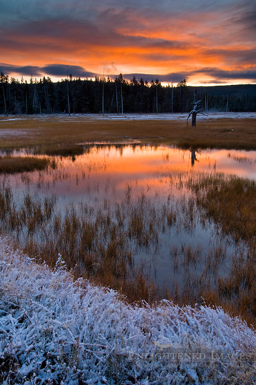 Stormy autumn sunrise reflected in pond near Midway Geyser Basin, Yellowstone National Park, Wyoming
