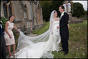 Emilia Wickstead; The bride & groom the HON.WILLIAM ASTOR; LOHRALEE STUTZ , Marriage of Lohralee Stutz to the hon William Astor. St. Augustine's Church, East Hendred. afterwards at Ginge Manor. 5 September 2009.