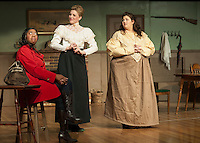 "Jane Adams/Saphaedra Renee has second thoughts about taking the nurses position as she is greeted by Azabella/Valerie Lake and Hepzibah Saltmarsh/Vanessa Alfonso at Ye Olde Wayside Inn during dress rehearsal for ""It Was a Dark and Stormy Night"" with the Streetcar Company on Tuesday evening.  (Karen Bobotas/for the Laconia Daily Sun)"