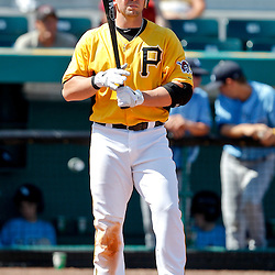February 25, 2011; Bradenton, FL, USA; Pittsburgh Pirates infielder Josh Fields (17) during a spring training exhibition game against the State College of Florida Manatees at McKechnie Field. The Pirates defeated the Manatees 21-1. Mandatory Credit: Derick E. Hingle