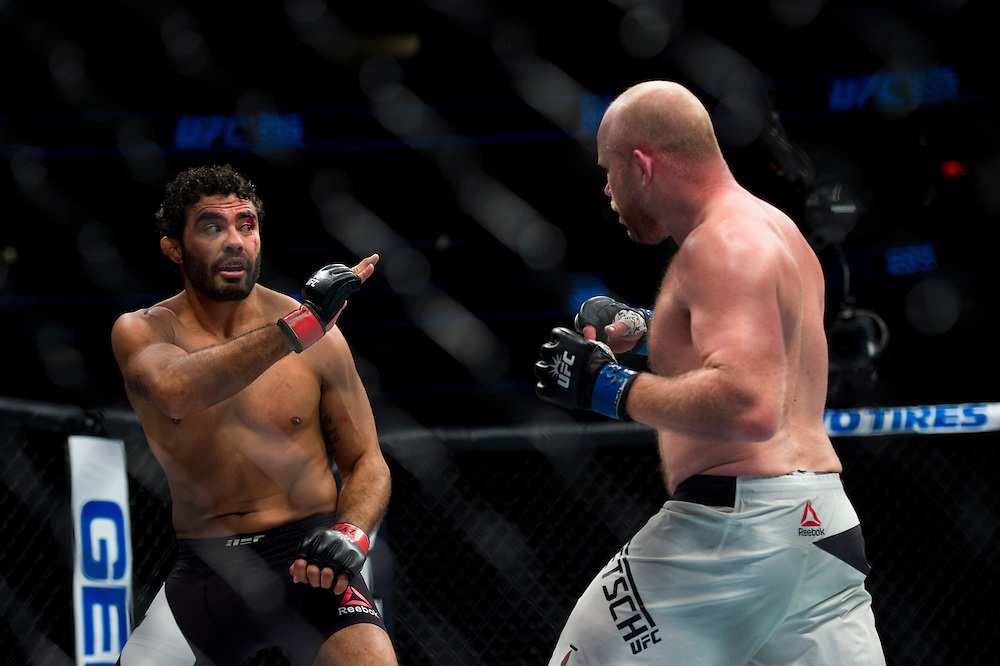 Rafael Natal defends against Tim Boetsch during UFC 205 at Madison Square Garden in New York, New York on November 12, 2016.  (Cooper Neill for The Players Tribune)