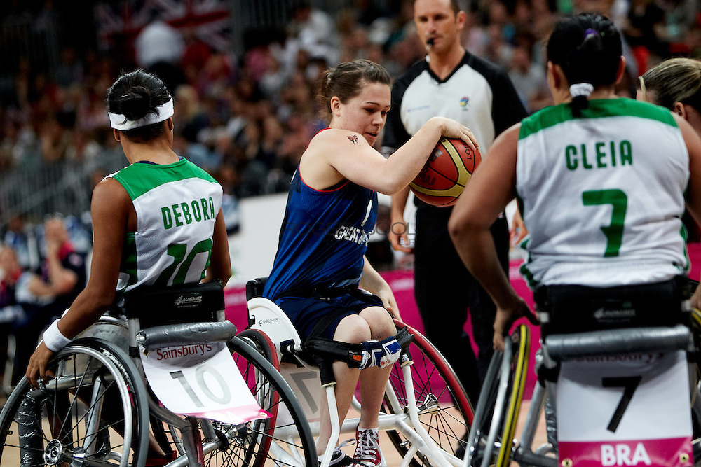 Helen Freeman of the Gerat Britain women's Wheelchair Basketball team plays at the Paralympic Basketball Arena in their 42-37 win over Brazil on day 3 of the London 2012 Paralympic Games. 1st September 2012..Debora.Cleia