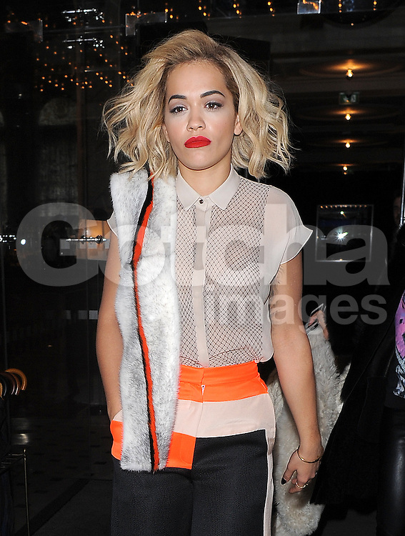 Singer Rita Ora at at The Edition Hotel in London, UK. 31/03/2014<br />BYLINE MUST READ : GOTCHAIMAGES.COM<br /><br />Copyright by &copy; Gotcha Images Ltd. All rights reserved.<br />Usage of this image is conditional upon the acceptance <br />of Gotcha Images Ltd, terms and conditions available at<br />www.gotchaimages.com