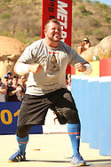 Stefan Solvi Peturssen (Iceland) celebrates a great performance in the Atlas Stones event during the final rounds of the World's Strongest Man competition held in Sun City, South Africa.