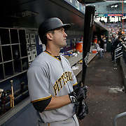 NEW YORK, NEW YORK - June 16: David Freese #23 of the Pittsburgh Pirates in the dugout preparing to bat during the Pittsburgh Pirates Vs New York Mets regular season MLB game at Citi Field on June 16, 2016 in New York City. (Photo by Tim Clayton/Corbis via Getty Images)