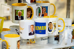 © Licensed to London News Pictures . 15/09/2019. Bournemouth, UK. Lib Dem mugs at £8 , badges and merchandise for sale in the exhibition at the conference . The Liberal Democrat Party Conference at the Bournemouth International Centre . Photo credit: Joel Goodman/LNP