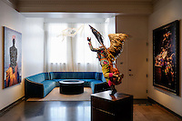 Art is displayed throughout the lobby at the new 21C in downtown Lexington.