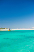 The turquoise waters of the blue lagoon, Yasawas, Fiji, South Pacific