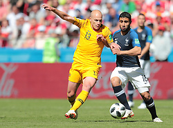 June 16, 2018 - Kazan, U.S. - KAZAN, RUSSIA - JUNE 16: midfielder Aaron Mooy of Australia and forward Nabil Fekir of France during a Group C 2018 FIFA World Cup soccer match between France and Australia on June 16, 2018, at the Kazan Arena in Kazan, Russia. (Photo by Anatoliy Medved/Icon Sportswire) (Credit Image: © Anatoliy Medved/Icon SMI via ZUMA Press)