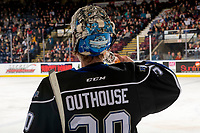 KELOWNA, CANADA - JANUARY 25:  Griffen Outhouse #30 of the Victoria Royals stands on the ice during time out  against the Kelowna Rockets on January 25, 2019 at Prospera Place in Kelowna, British Columbia, Canada.  (Photo by Marissa Baecker/Shoot the Breeze)