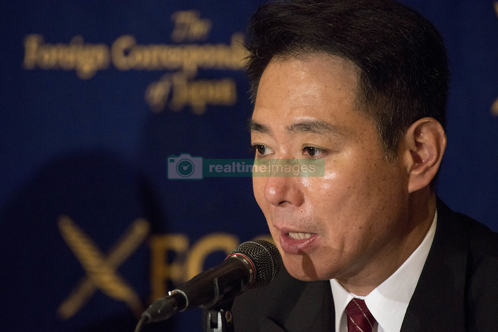 August 29, 2017 - Tokyo, Tokyo, Japan - The Democratic Party is preparing to elect its new leader on September 1 after Ren'hō Murata gave up the top party post following the DP's stunning setback in the Tokyo municipal assembly election in July. Seiji Maehara, 55, is a former foreign minister known for his conservative views on security and defense. In 2005 he headed the party, which was revamped last year by absorbing a small opposition group, speaks during a news conference at Tokyo Foreign Correspondents Club of Japan on August 29, 2017. (Credit Image: © Alessandro Di Ciommo/NurPhoto via ZUMA Press)