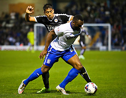 Leonardo Ulloa of Leicester City challenges Nathan Cameron of Bury  - Mandatory byline: Matt McNulty/JMP - 07966386802 - 25/08/2015 - FOOTBALL - Gigg Lane -Bury,England - Bury v Leicester City - Capital One Cup - Second Round