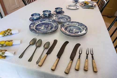 Antique table setting spoons knives two-tine forks plates u0026 cups & Antique table setting: spoons knives two-tine forks plates u0026 cups ...