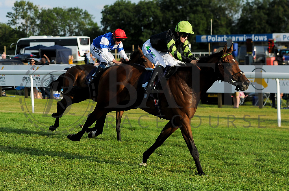 "Charlie D ridden by Jane Elliott and trained by Tom Dascombe in the Play ""Four From The Top"" At Valuerater.Co.Uk Handicap (Value Rater Racing Club Summer Stayers' Qual) race.  - Ryan Hiscott/JMP - 02/08/2019 - PR - Bath Racecourse - Bath, England - Race Meeting at Bath Racecourse"