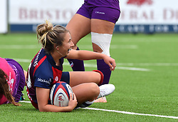 Elinor Snowsill of Bristol Bears Women celebrates her try - Mandatory by-line: Paul Knight/JMP - 28/09/2019 - RUGBY - Shaftesbury Park - Bristol, England - Bristol Bears Women v Loughborough Lightning  - Tyrrells Premier 15s