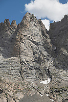 Rugged cliffs of Mount Bonneville. Bridger Wilderness, Wind River Range Wyoming