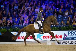 Van Lieren Laurens, NED, Hartsuijker<br /> Final Subli Young Dressage horses 4 years of age<br /> Jumping Amsterdam 2017<br /> © Hippo Foto - Leanjo de Koster<br /> 26/01/17