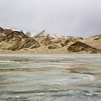 White Sand Hill and frozen lake, Tashkurgan County, Xinjiang, China